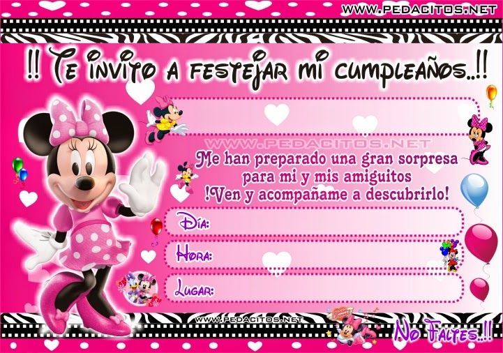 Tarjeta de cumpleaños minnie bebe para editar - Imagui | Proyectos ...