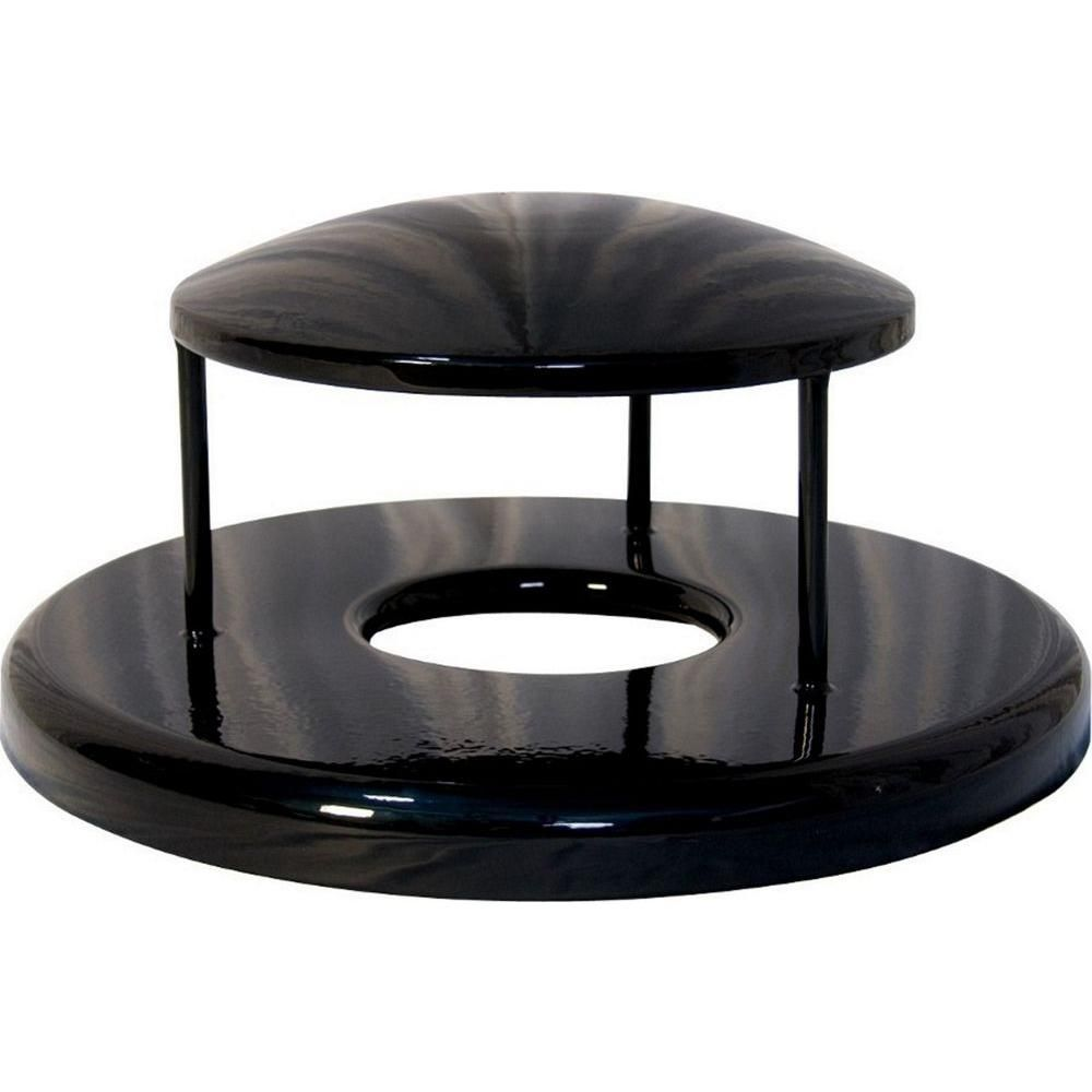 Ultra Play 32 gal. Powder Coated Black Commercial Park Rain Bonnet Receptacle Lid