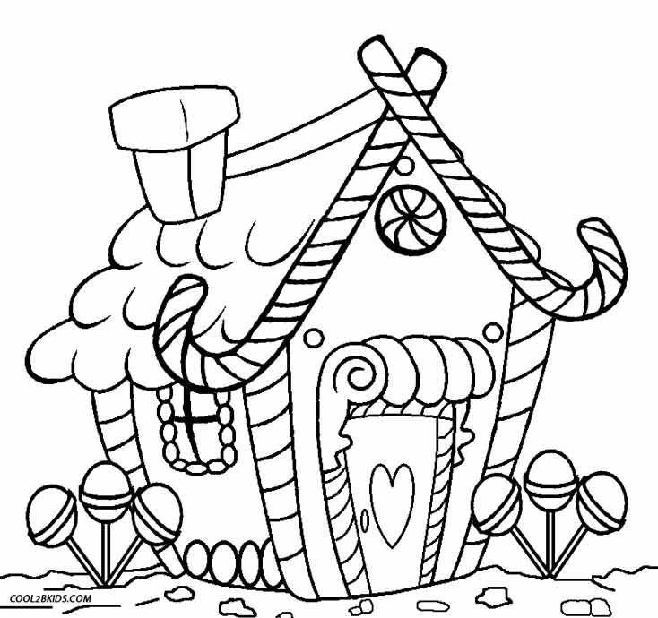 Printable Gingerbread House Coloring Pages For Kids | Cool2bKids ...