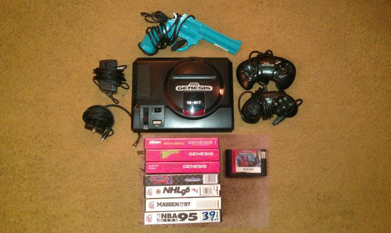 Sega Genesis Model 1601 16 bit Console/2 Controllers/Wires/8 games/Lightgun - http://video-games.goshoppins.com/video-game-consoles/sega-genesis-model-1601-16-bit-console2-controllerswires8-gameslightgun/