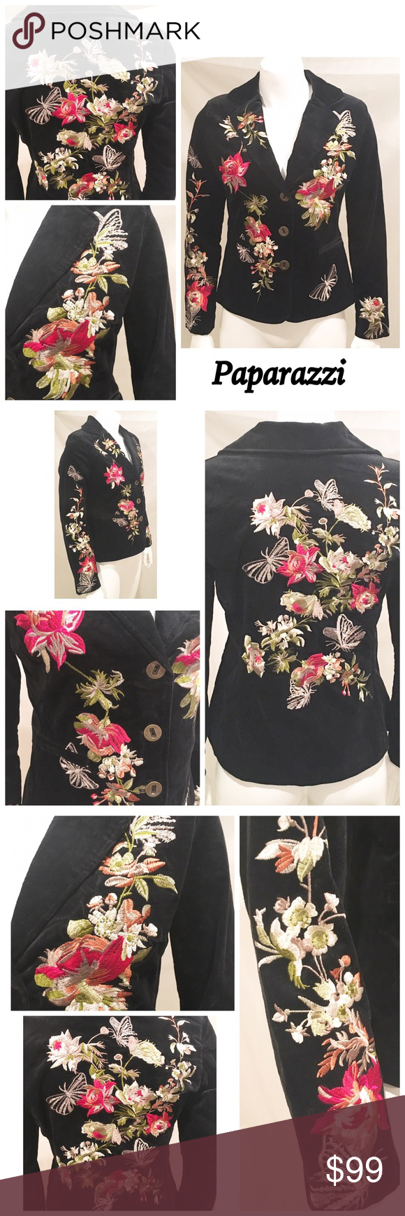 "NWT Paparazzi Corduroy Floral Black Jacket S NWT Paparazzi Corduroy Floral Embroidered Black Button Down Jacket S  Brand new with tags attached   Measurements: Shoulders: 15.5"" (top of shoulder to top of shoulder seam) Bust: 19"" (armpit to armpit) Sleeve: 23.75"" (from top shoulder seam to bottom of sleeve) Length: 24.5"" (down the middle- top back collar to bottom of back) Paparazzi Jackets & Coats"