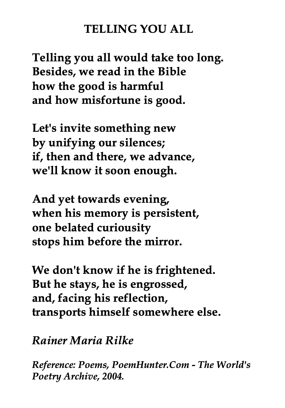 Rainer Maria Rilke Austrian German Poet Poem Quote Paraphrase Of The Mirror By Sylvia Plath