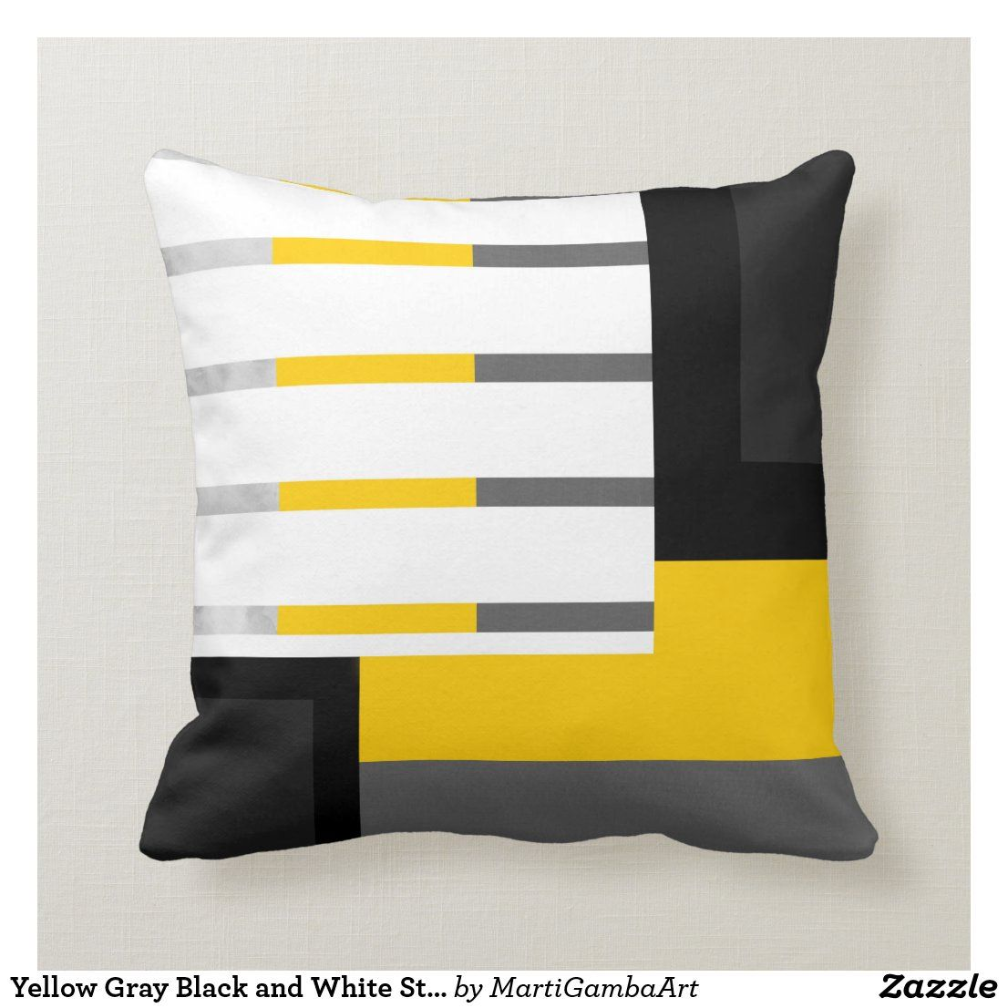 Yellow Gray Black And White Striped Block Throw Pillow Zazzle Com In 2020 Black And White Living Room Yellow Throw Pillows Black Pillows