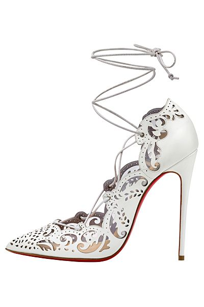 135ccbbf51d Christian Louboutin White Lace-Up Sandal Spring Summer 2014  CL  Louboutins   Weddingshoes