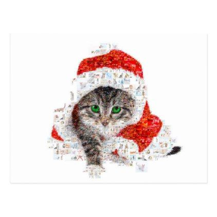 santa claus cat cat collage kitty cat love holiday postcard