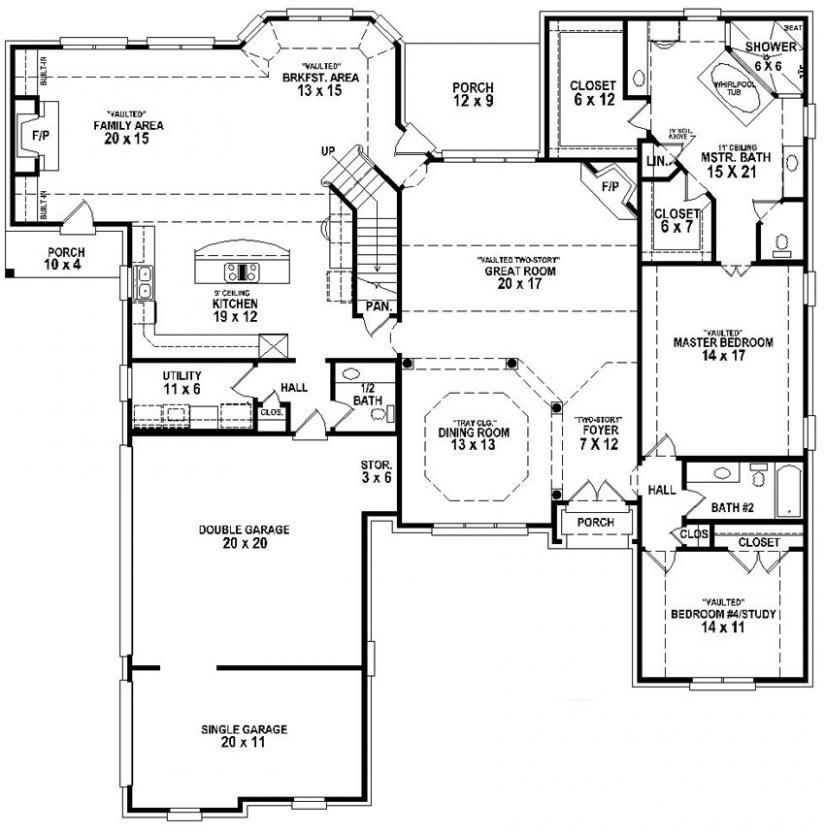 #654265 - 4 Bedroom 3.5 Bath House Plan : House Plans ...