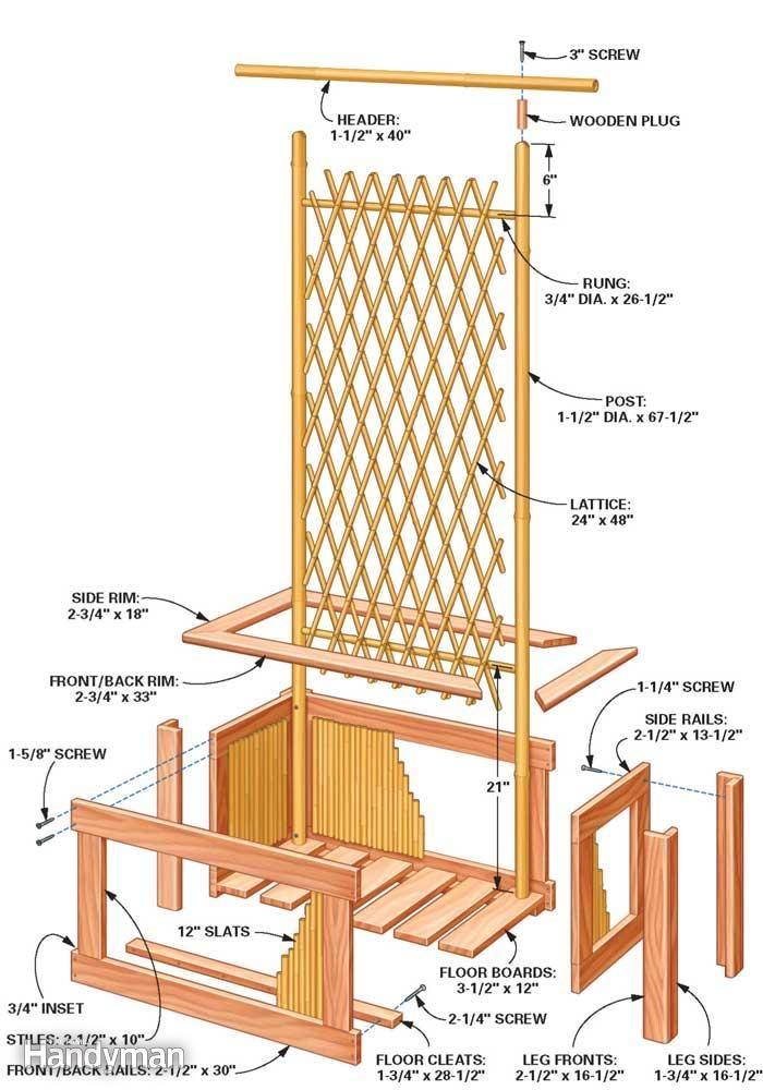 Bamboo Trellis Ideas Part - 35: Bamboo Planter And Trellis Technical Drawing
