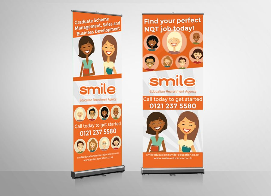 Smile education recruitment pull up banners racs for Design recruitment agencies
