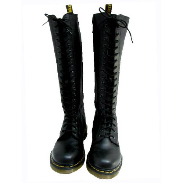 9ebc738e09b Vintage Dr Martens AirWair Boots 20 Eyelet Lace Up Knee High Zip Side Black  Leather 20 Hole Doc Marten DM Boots Womans US Size 9 ( 125) found on  Polyvore