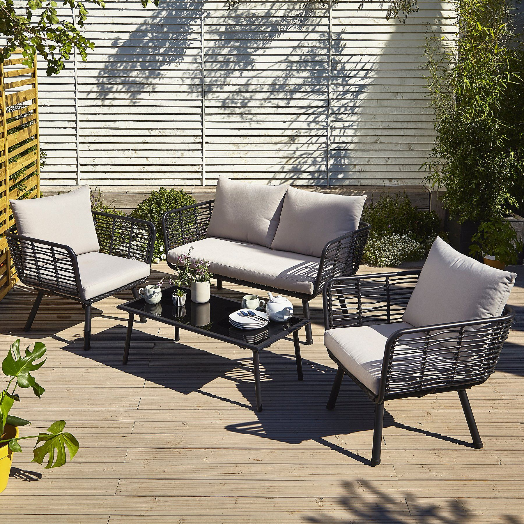 New 4 Piece Garden Furniture Conservatory Patio Outdoor Table Chairs Rattan Home
