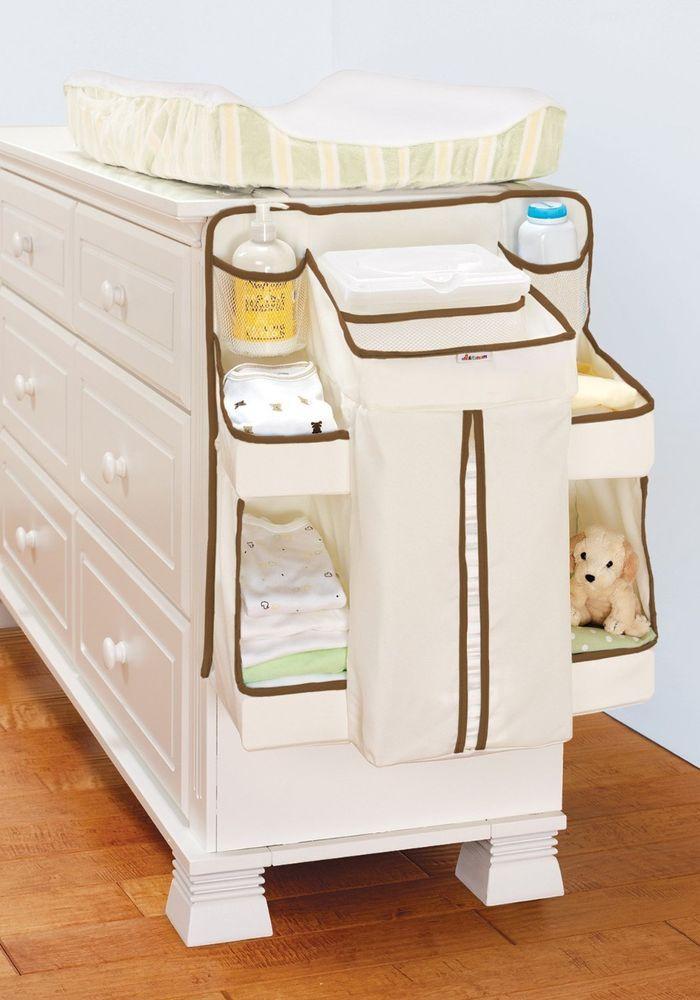 White Diaper Holder Storage Bins Changing Table Closet Organizer Baby  Nursery