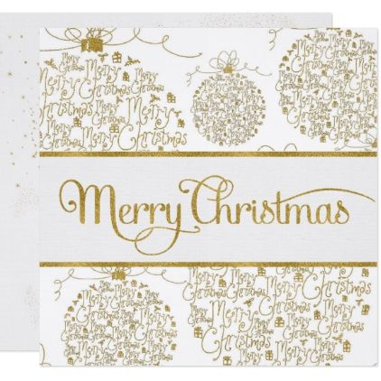 Golden Merry Christmas Word Art Ornaments on White Card - christmas card word