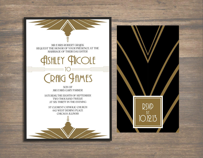 Wedding Invitation Art Deco Gatsby Gatsby Party Gatsby And Art Deco