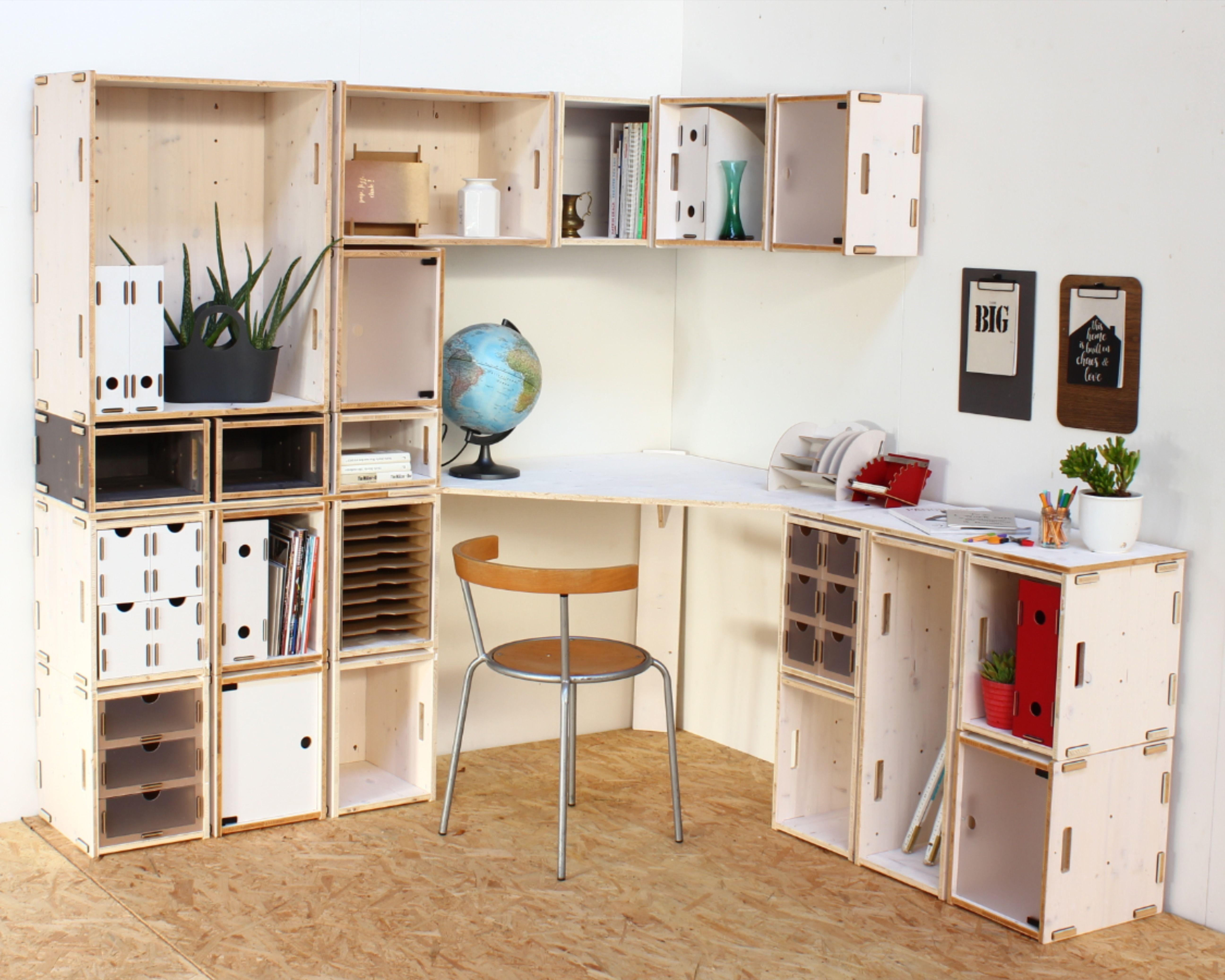 Plane Deinen Perfekten Schreibtisch Mit Holzkisten Und Stecksystem