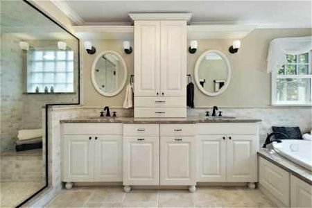 White Bathroom Vanity With His And Hers Sinks Home Is