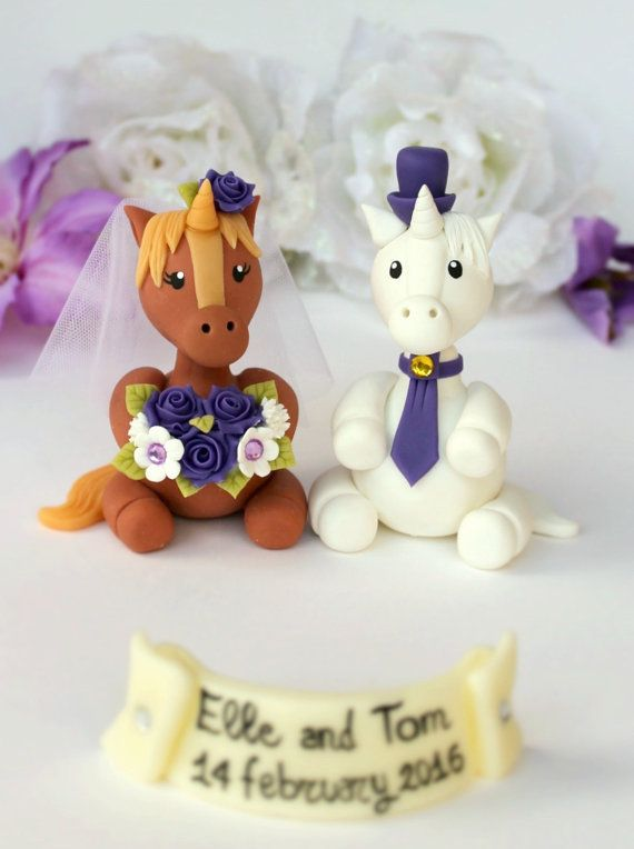 Wedding Horse Unicorn Cake Topper Unicorns Bride By Perlillapets