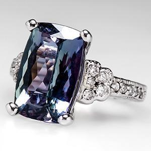 Natural Tanzanite Engagement Ring w/ Diamonds in 14K White Gold - EraGem
