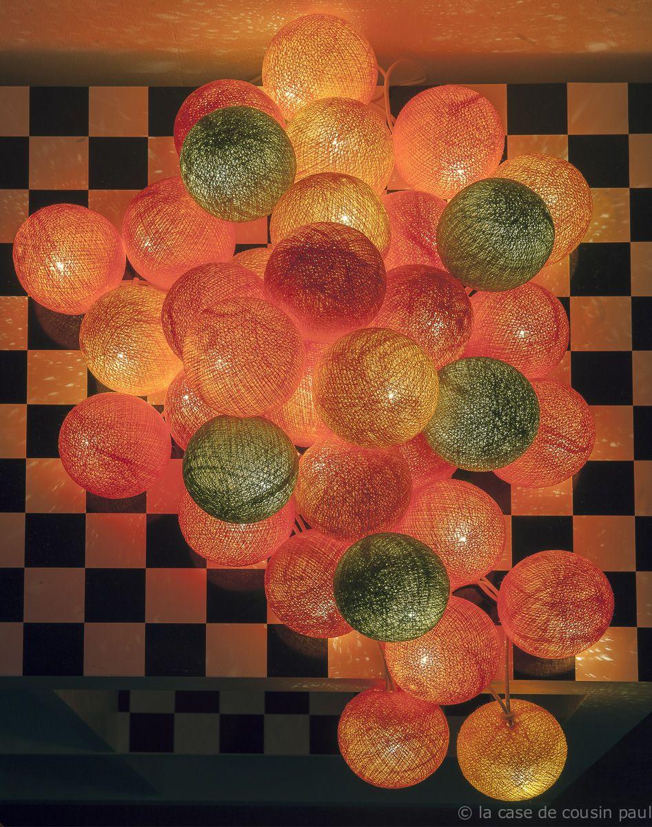 automne guirlande de 35 boules orange clair orange orange flash kaki la case de cousin. Black Bedroom Furniture Sets. Home Design Ideas