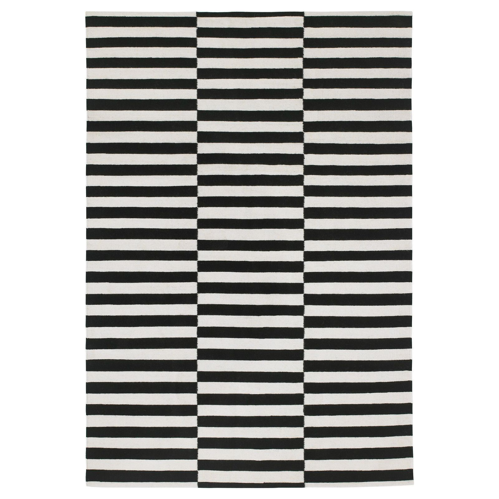 Stockholm Rug Flatwoven Black Stripe Handmade Stripe Off White