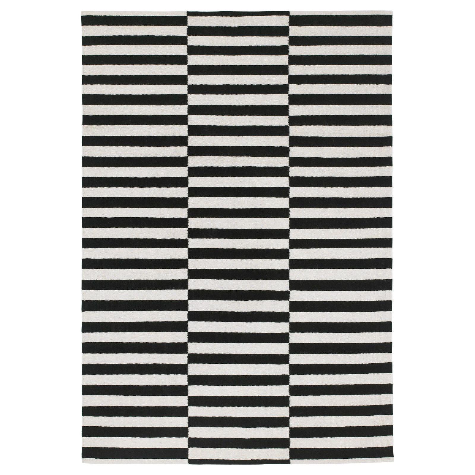 Stockholm Rug Flatwoven Black Stripe Handmade Stripe Off White