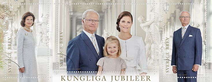 PostNord stamps commemorating King Carl XVI Gustaf's 70th Birthday, Queen Silvia's 40 years as Queen, Crown Princess Victoria and Princess Estelle.