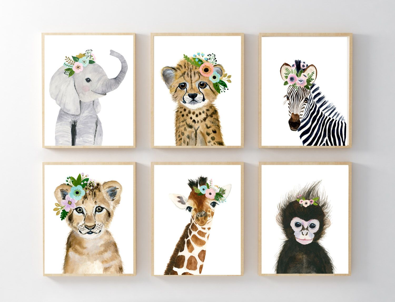 African Baby Animals Nursery Print Set 6 Safari Art Prints Animal