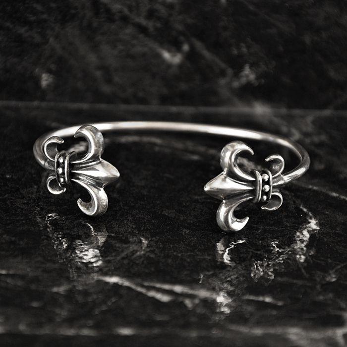 Sterling Silver Classic Fleur-de-Lis Cuff Bracelet