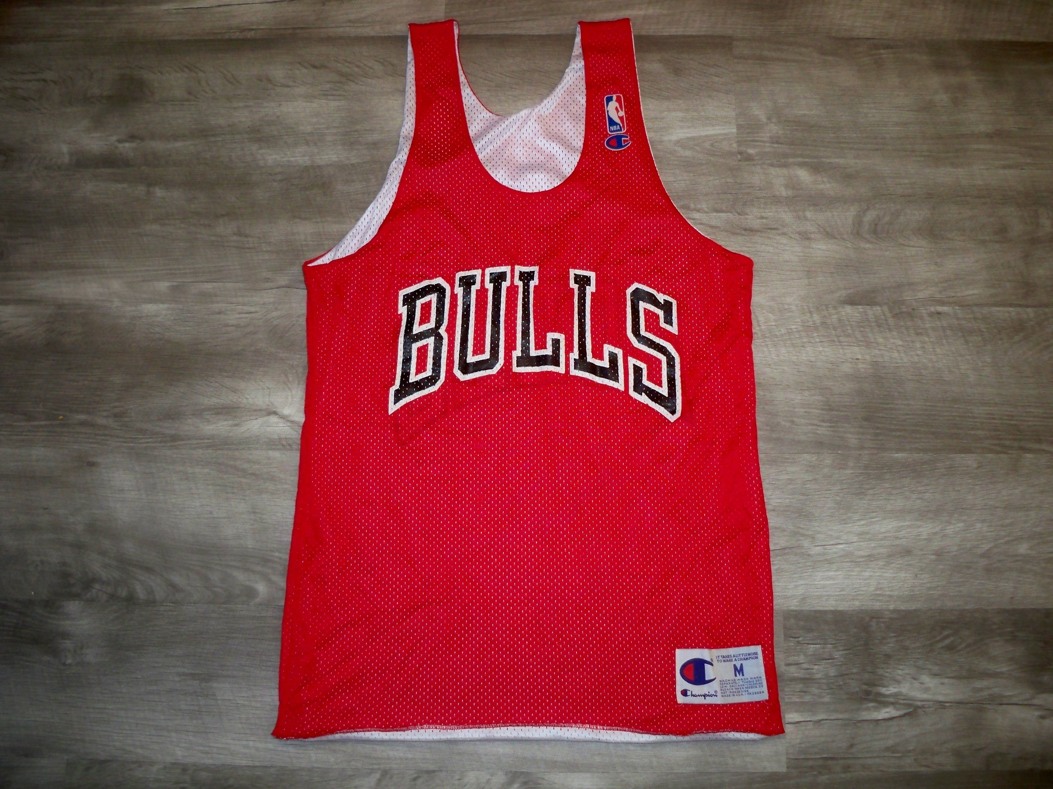 74e4db72065 Vintage Champion Chicago Bulls Reversible Jordan Era NBA Basketball Jersey  Uniform Size Medium Made in USA