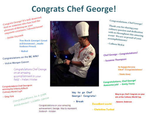 Congratulations To Sodexo Chef Culinary World Cup Champion George Castaneda Chef Jobs Training And Development Career
