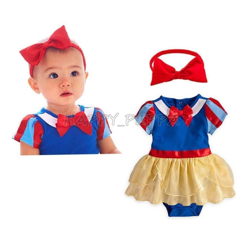 9ce2befa6ef5 2Pcs Baby Girls Snow White Princess Romper Dress Headband Cosplay Outfits  0-18M