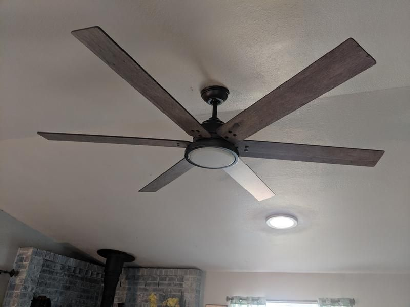 70 Defender Brushed Nickel And Weathered Oak Led Ceiling Fan 70v69 Lamps Plus Led Ceiling Fan Ceiling Fan Ceiling Fan With Light