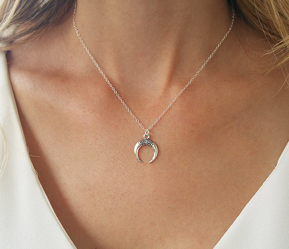 027001ae2770 Silver Horn Necklace