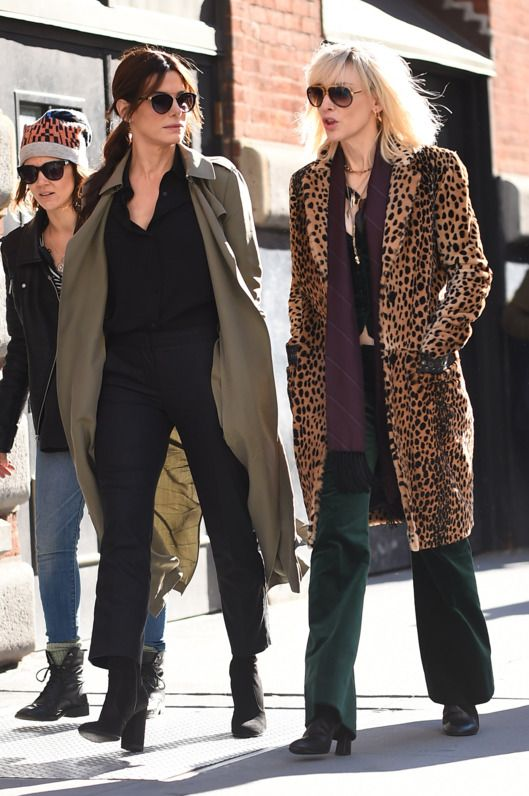 Here Are the Stars of Ocean's 8 on Set in Coats -- Vulture