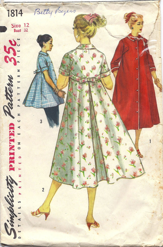 1950s Simplicity 1814 Misses\' Housecoat, Robe, Smock, Size 12, Bust ...