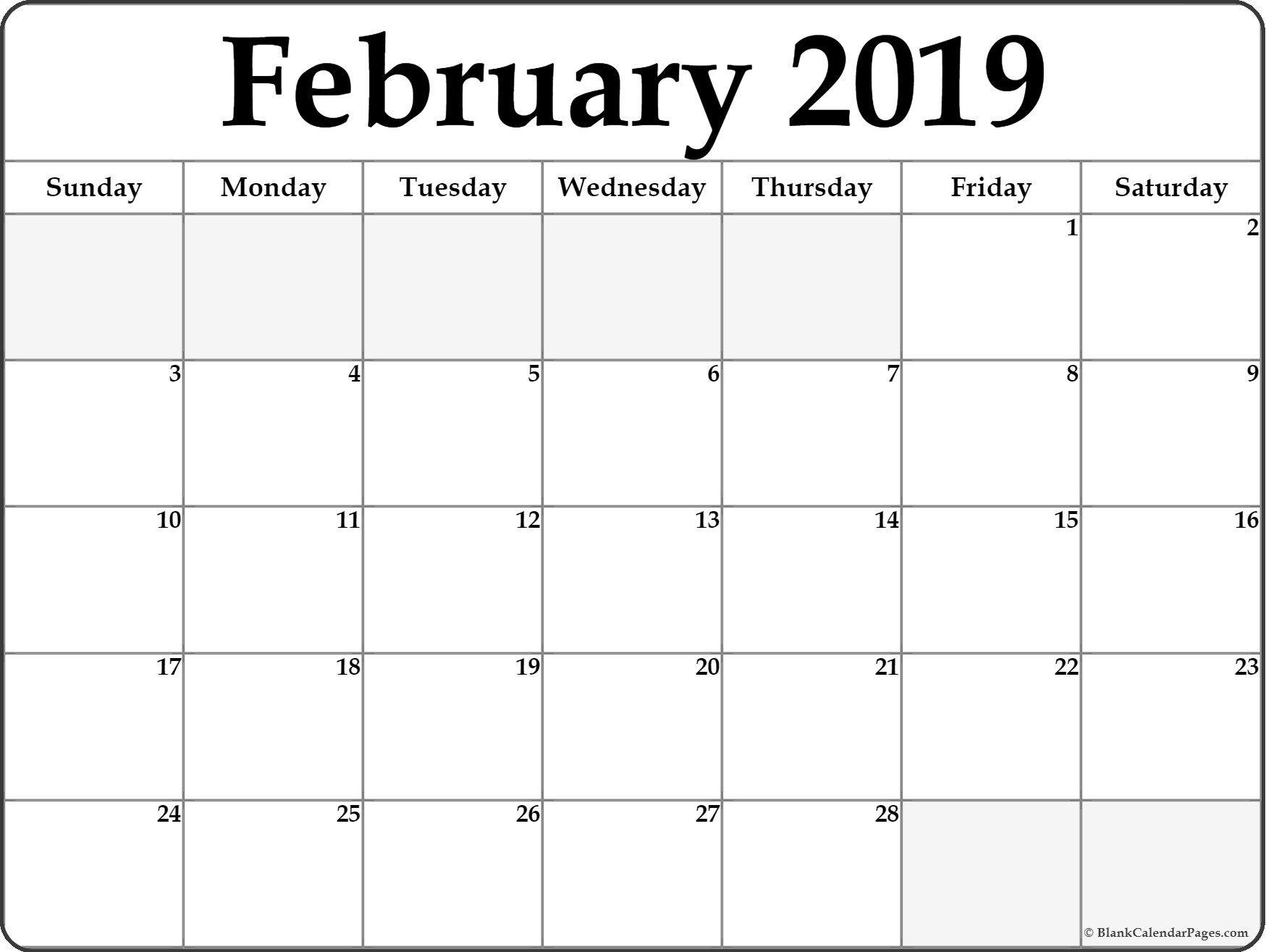 Fillable Monthly Calendar 2019 February 2019 Editable Calendar | Free February 2019 Calendar