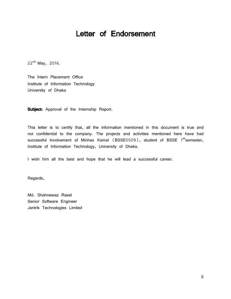 Endorsement Letter Sample New Letter Of Endorsement Sample In 2020
