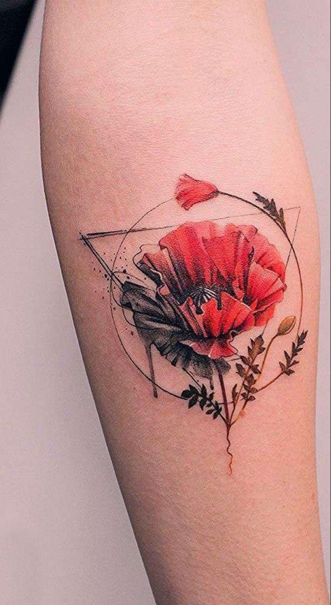 Geometric Flower Tattoo In 2020 Geometric Flower Tattoo Watercolor Tattoo Flower Geometric Tattoo Neck