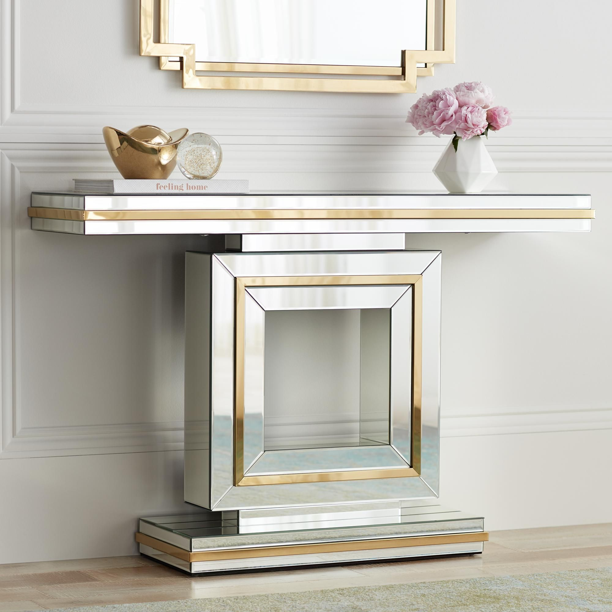 Laila 48 Inch Wide Gold Trimmed Mirrored Console Table Mirrored
