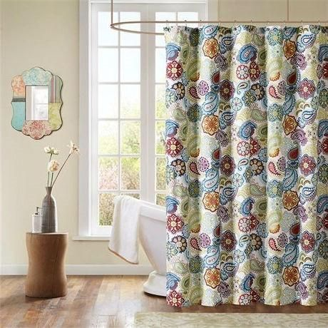 Contemporary Colorful Floral Paisley Shower Curtain - Loluxe ...