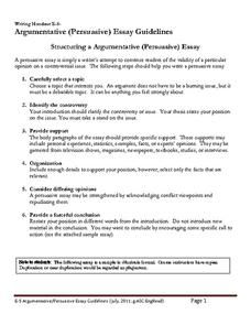 Argumentative Persuasive Essay Guidelines Worksheet  Writing