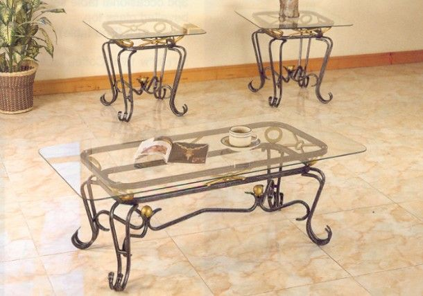 wrought iron coffee table with glass top | hierro forjado
