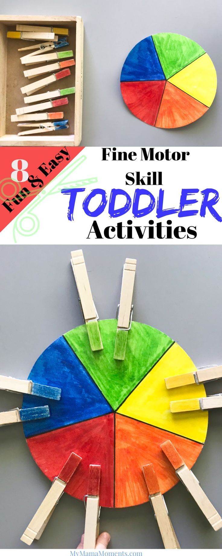 8 Fun & Easy Fine Motor Skill Activities for Toddlers! A BONUS Threading Activity Step-by-Step Tutorial! Make learning fun one activity at a time! #toddleractivites #finemotorskill #motorskillactivities #toddler #DIYactivities #craftymom