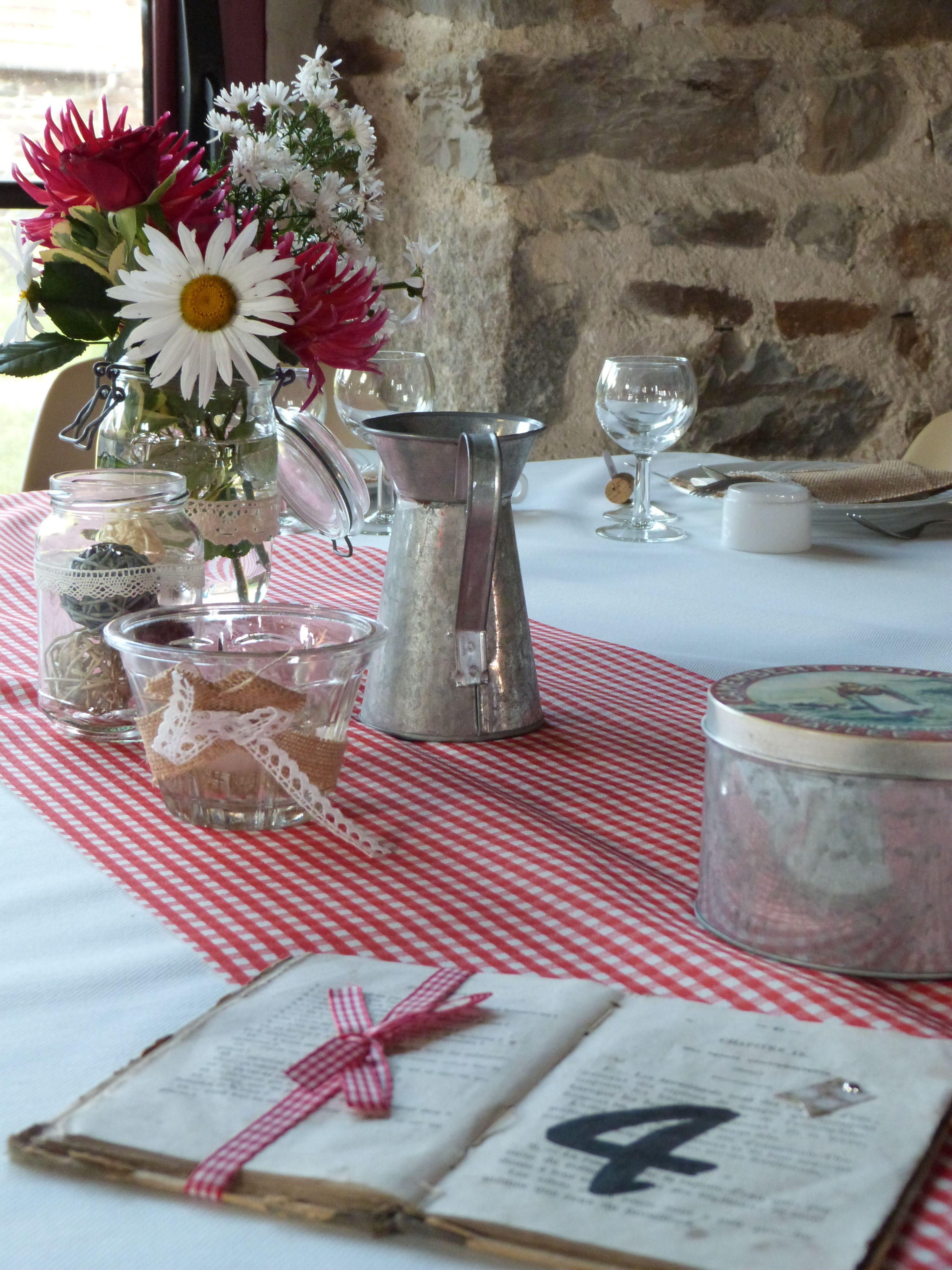 wedding table mariage guinguette barn champ tre vichy zinc love guing 39 pinterest. Black Bedroom Furniture Sets. Home Design Ideas