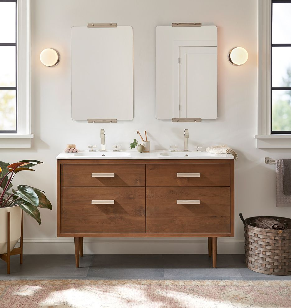 18 Aged Brass Rounded Rectangle Yaquina Mirror Rejuvenation Double Vanity Stylish Bathroom Vanity [ 990 x 936 Pixel ]