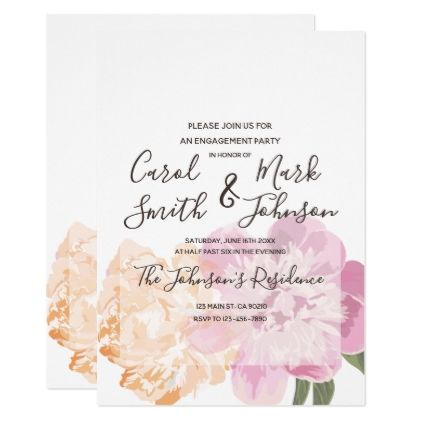 Monogram Watercolor Floral Spring Engagement Card - script gifts