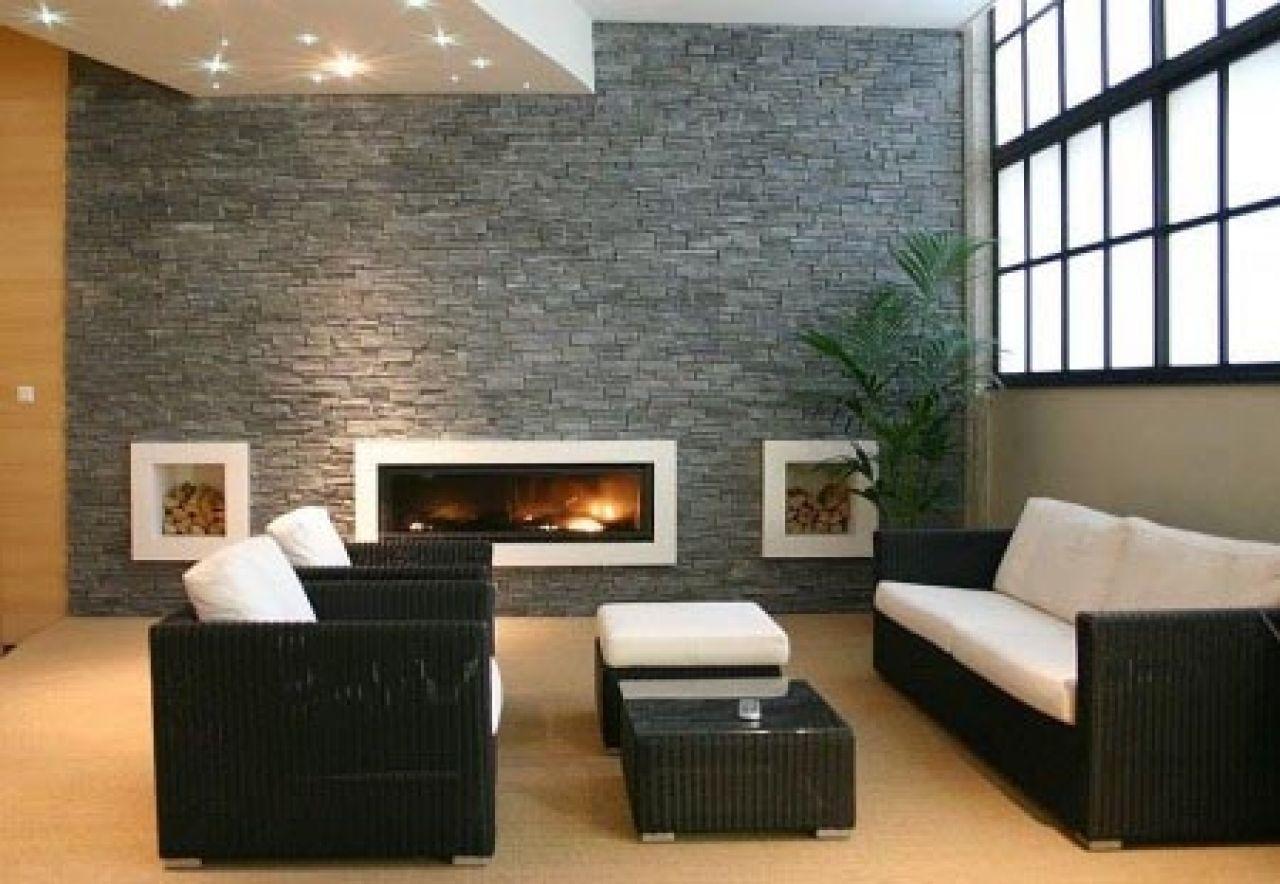 Modern Living Room With Natural Stone Wall Decor Natural Stone Trends Paredes Interiores De Piedra Piso De Piedras Decoracion De Salas Modernas
