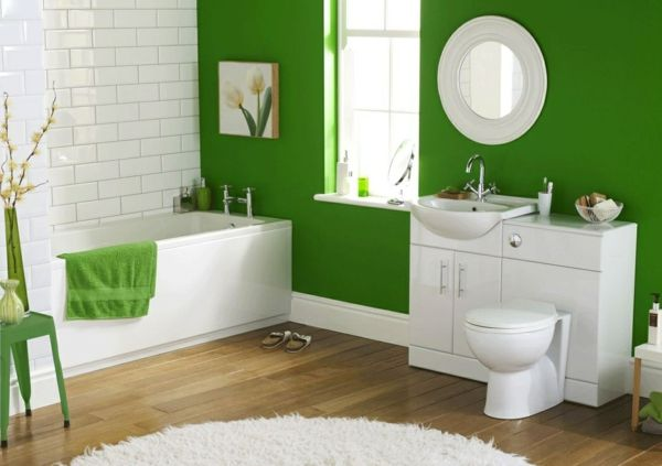 dunkel grün Wandgestaltung mit Farbe wand streichen ideen - badezimmer streichen