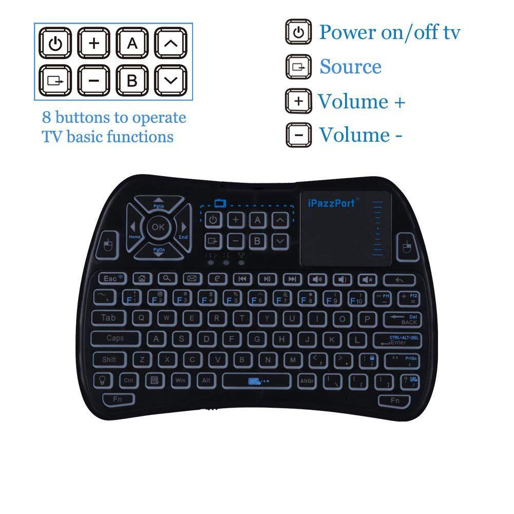 2018 TV Remote) iPazzPort RGB Backlit Mini Wireless Keyboard