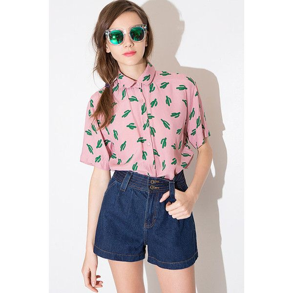 652986b854b Pink Cactus Printed Lapel Loose Shirt (245 NOK) ❤ liked on Polyvore  featuring tops, pink, pink button down shirt, loose shirts, loose fitting  tops, ...