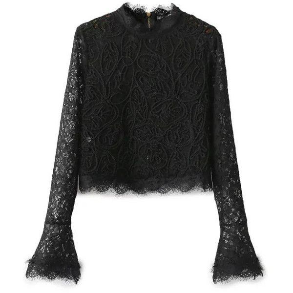 Black High Neck Belle Sleeve Mesh Lace Blouse (€29) ❤ liked on Polyvore featuring tops, blouses, high neck lace blouse, mesh top, mesh sleeve top, stretch lace top and high neck blouse